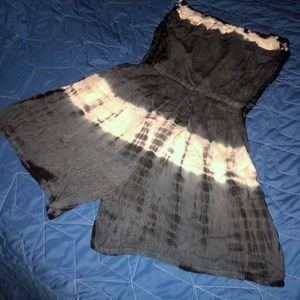 Blue/Gray Tie Dyed Strapless Romper